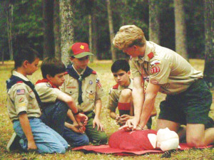 Scouts teaching Scouts... CPR training is fun!